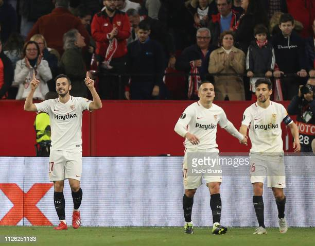 Pablo Sarabia with his teammates of Sevilla celebrates after scoring the team's second goal during the UEFA Europa League Round of 32 Second Leg...
