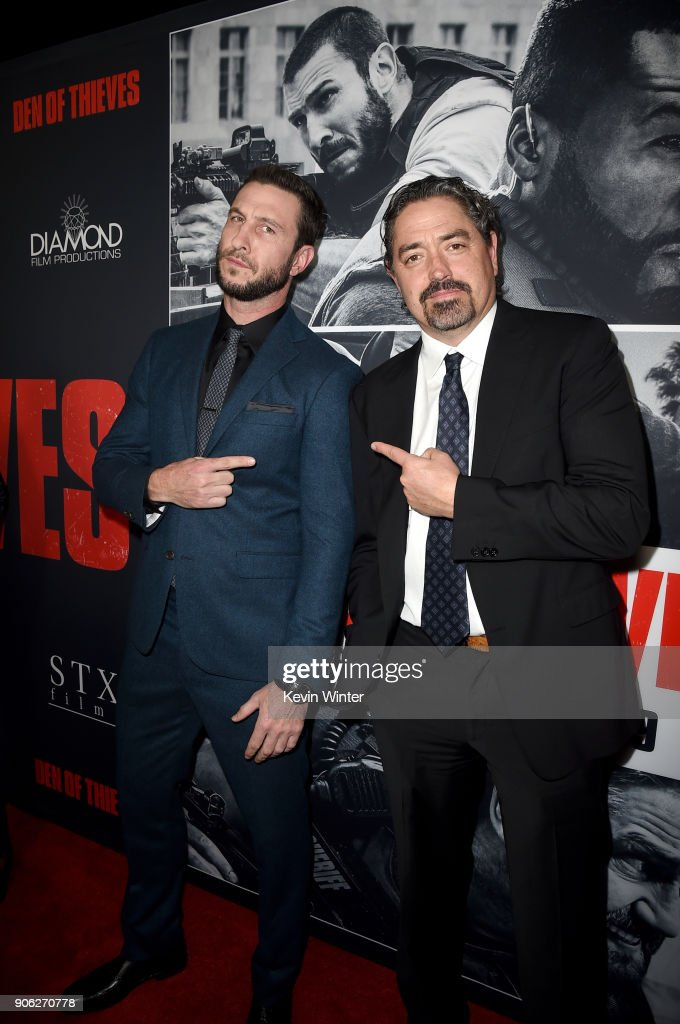 Pablo Schreiber and Christian Gudegast attend the premiere of STX Films' 'Den of Thieves' at Regal LA Live Stadium 14 on January 17, 2018 in Los Angeles, California.