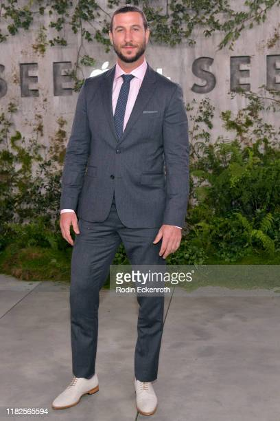 """Pablo Schreiber attends the world premiere of Apple TV+'s """"See"""" at Fox Village Theater on October 21, 2019 in Los Angeles, California."""