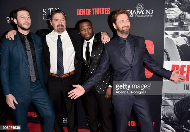 Pablo Schreiber Christian Gudegast 50 Cent and Gerard Butler attend the premiere of STX Films' 'Den of Thieves' at Regal LA Live Stadium 14 on...
