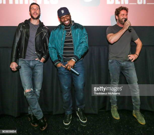 Pablo Schreiber Curtis '50 Cent' Jackson and Gerard Butler at The Den of Thieves special screening at Regal South Beach on January 10 2018 in Miami...