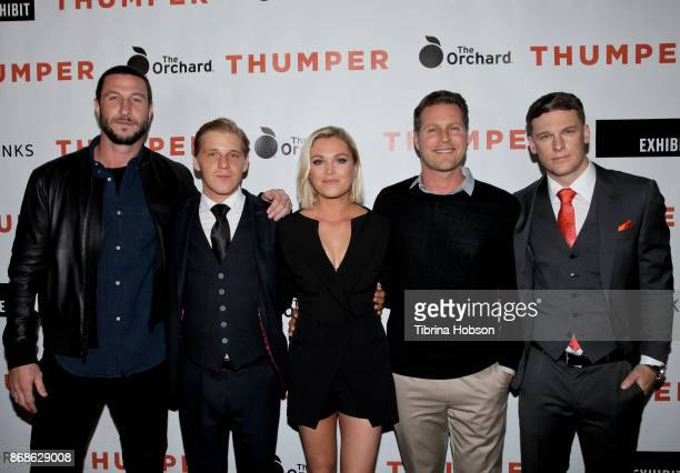 Pablo Schreiber Daniel Webber Eliza Taylor Jordan Ross and Grant Harvey attend the premiere of 'Thumper' at the Egyptian Theatre on October 30 2017...