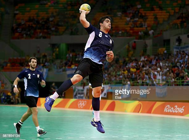 Pablo Simonet of Argentina scores a goal late in game against Croatia on Day 4 of the Rio 2016 Olympic Games at the Future Arena on August 9, 2016 in...