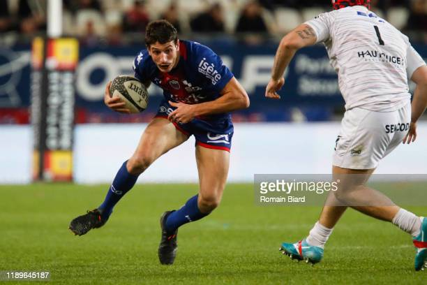 Pablo UBERTI of Grenoble and Tommy RAYNAUD of Oyonnax and Phoenix Damon BATTYE of Oyonnax during the Pro D2 match between Grenoble and Oyonnax at...