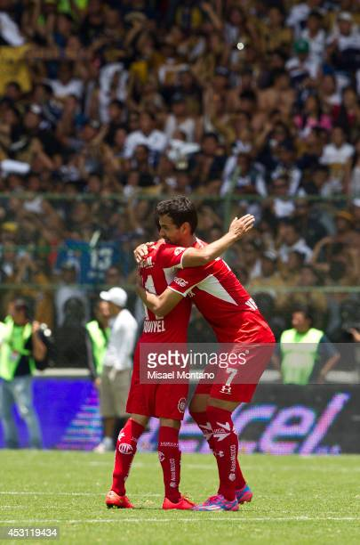 Pablo Velazquez of Toluca celebrates after scoring the second goal against Leon during a match between Toluca and Pumas as part of 4th round Apertura...