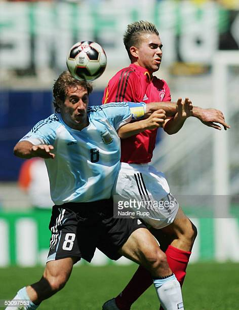 Pablo Zabaleta of Argentina heads before Christopher Reinhard of Germany during the FIFA World Youth Championship match between Germany and Argentina...