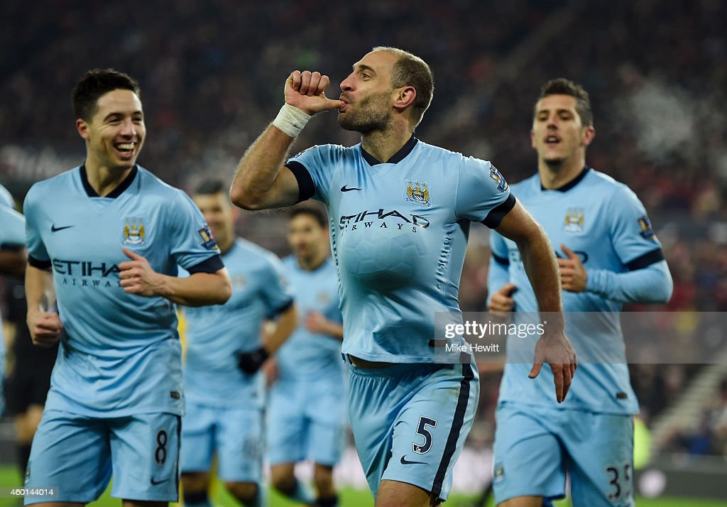 Pablo Zabaleta of Manchester City celebrates after scoring his team's third goal during the Barclays Premier League match between Sunderland and Manchester City at The Stadium of Light on December 3, 2014 in Sunderland, England.