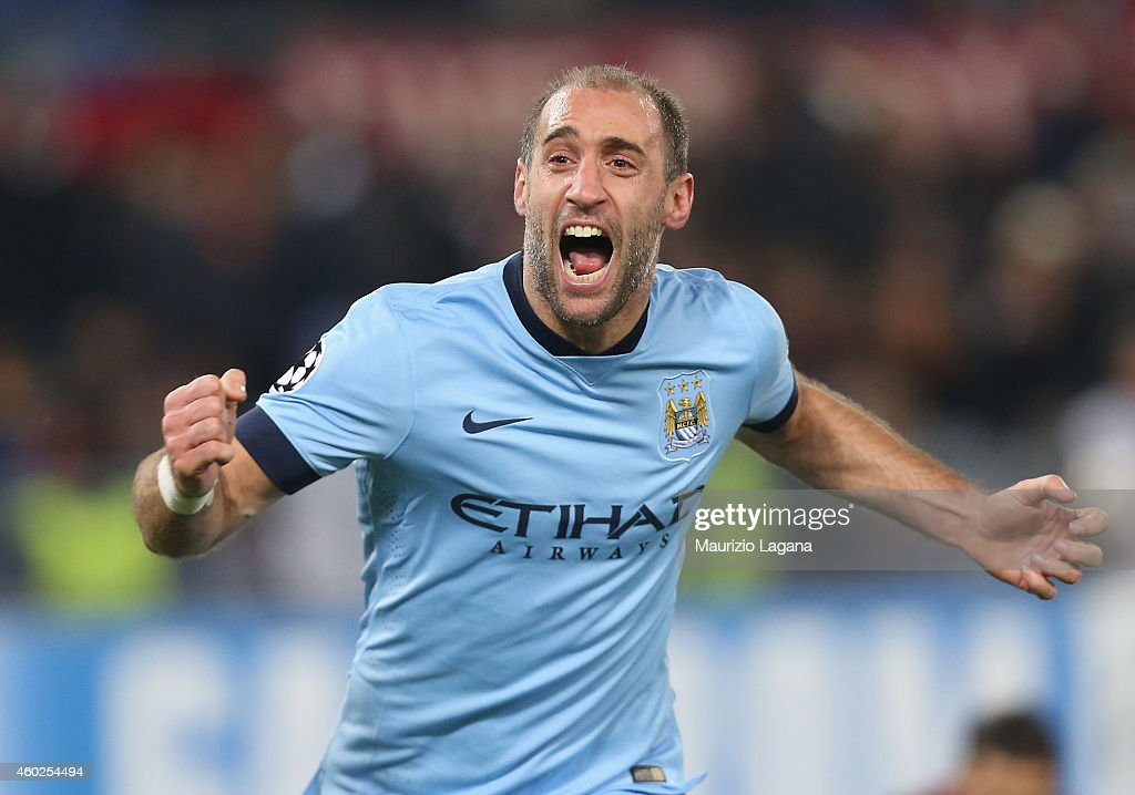 Pablo Zabaleta of Manchester City celebrates after scoring his team's second goal during the UEFA Champions League Group E match between AS Roma and Manchester City FC on December 10, 2014 in Rome, Italy.