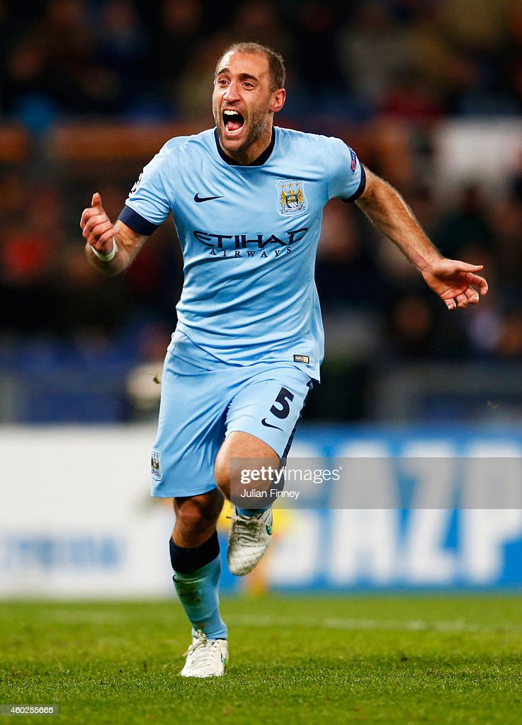 Pablo Zabaleta of Manchester City celebrates as he scores their second goal during the UEFA Champions League Group E match between AS Roma and Manchester City FC at Stadio Olimpico on December 10, 2014 in Rome, Italy.