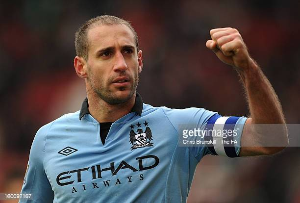 Pablo Zabaleta of Manchester City celebrates at full-time following the FA Cup with Budweiser Fourth Round match between Stoke City and Manchester...