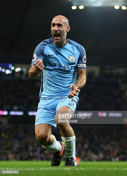 Pablo Zabaleta Of Manchester City Celebrates Scoring The Opening Goal During The Premier League Match Between