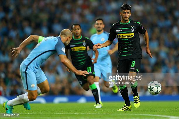 Pablo Zabaleta of Manchester City closes down Mahmoud Dahoud of Borussia Moenchengladbach during the UEFA Champions League match between Manchester...
