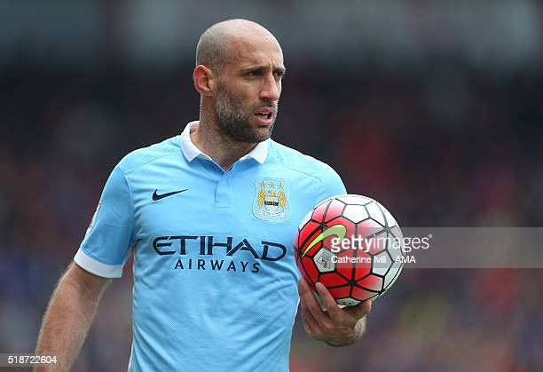 Pablo Zabaleta of Manchester City during the Barclays Premier League match between AFC Bournemouth and Manchester City at Vitality Stadium on April 2...