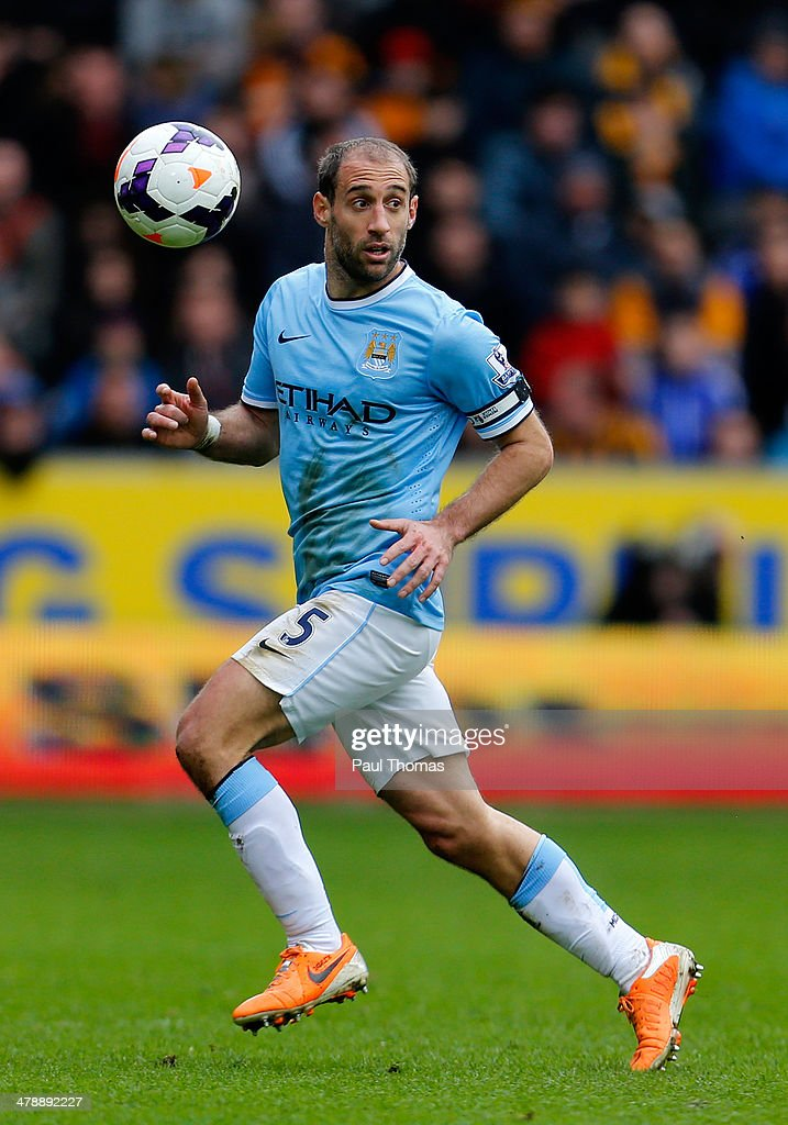Pablo Zabaleta of Manchester City in action during the Barclays Premier League match between Hull City and Manchester City at the KC Stadium on March 15, 2014 in Hull, England.