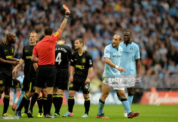 Pablo Zabaleta of Manchester City is sent off by referee Andre Marriner during the FA Cup with Budweiser Final between Manchester City and Wigan...
