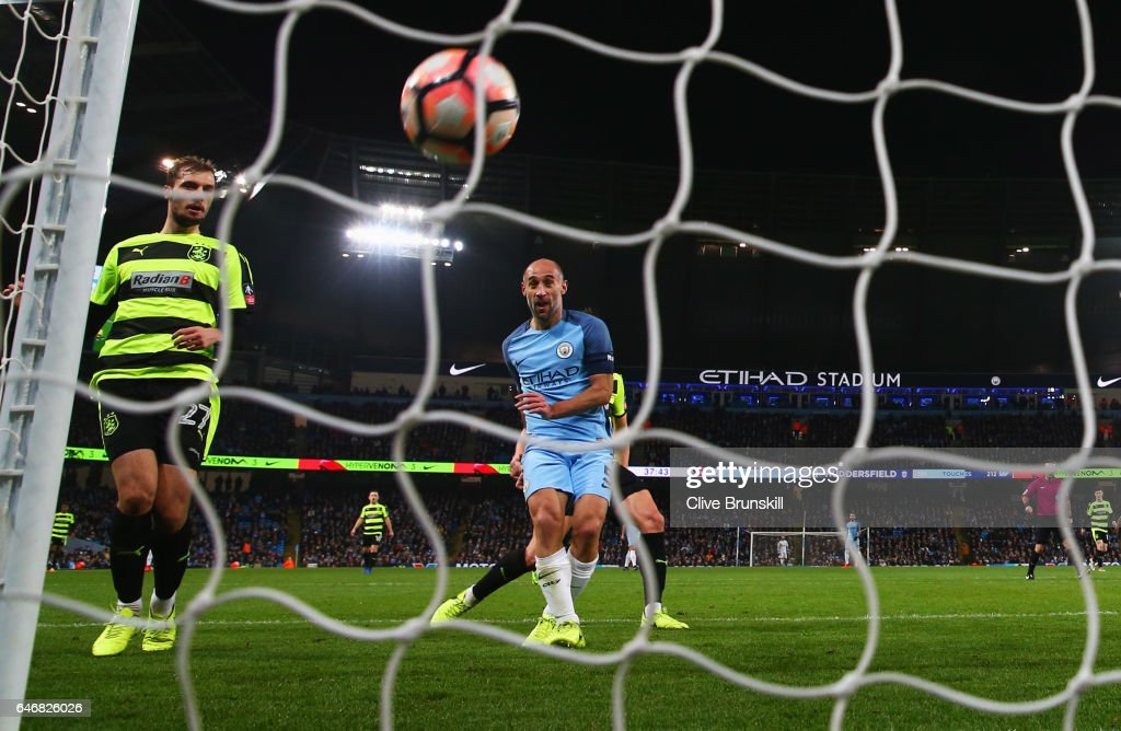 Pablo Zabaleta of Manchester City (5) scores their third goal during The Emirates FA Cup Fifth Round Replay match between Manchester City and Huddersfield Town at Etihad Stadium on March 1, 2017 in Manchester, England.