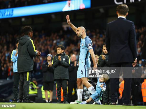 Pablo Zabaleta of Manchester City shows appreciation to the fans after the Premier League match between Manchester City and West Bromwich Albion at...