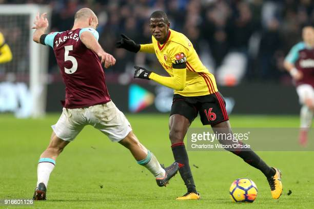 Pablo Zabaleta of West Ham and Abdoulaye Doucoure of Watford battle for the ball during the Premier League match between West Ham United and Watford...