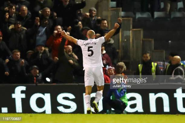 Pablo Zabaleta of West Ham United celebrates after scoring his team's first goal during the FA Cup Third Round match between Gillingham FC and West...