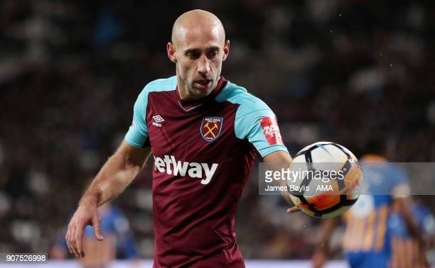 Pablo Zabaleta of West Ham United during the Emirates FA Cup Third Round Repaly match between West Ham United and Shrewsbury Town at London Stadium...