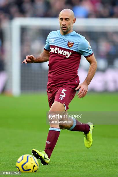 Pablo Zabaleta of West Ham United during the Premier League match between West Ham United and Everton FC at London Stadium on January 18, 2020 in...