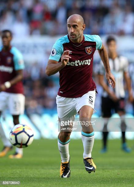 Pablo Zabaleta of West Ham United during the Premier League match between Newcastle United and West Ham United at St James Park on August 26 2017 in...