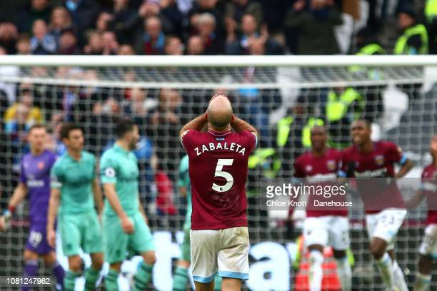 Pablo Zabaleta of West Ham United holds his head in his hands after a missed shot at goal during the Premier League match between West Ham United and...