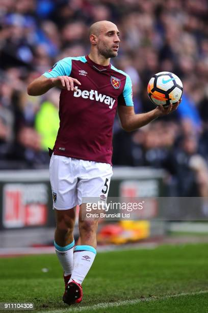 Pablo Zabaleta of West Ham United in action during the Emirates FA Cup Fourth Round match between Wigan Athletic and West Ham United on January 27...