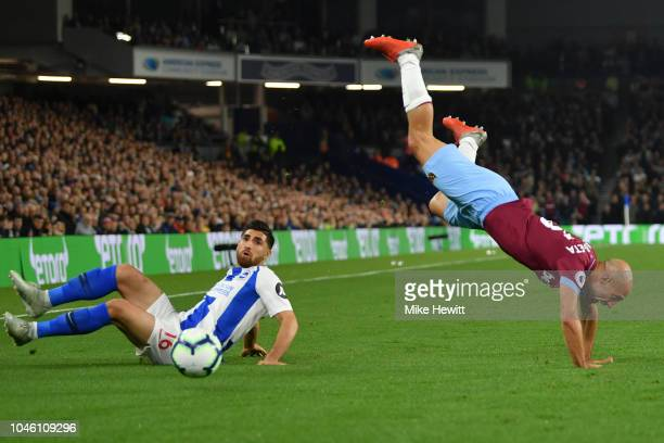 Pablo Zabaleta of West Ham United is fouled by Alireza Jahanbakhsh of Brighton and Hove Albion during the Premier League match between Brighton Hove...