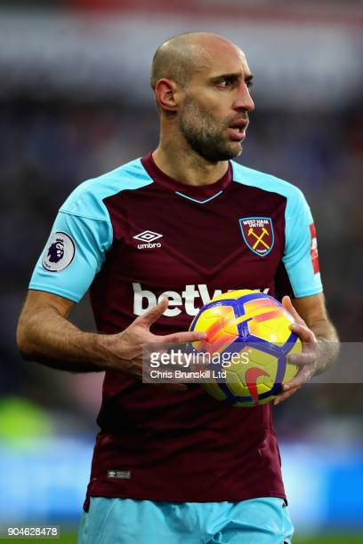 Pablo Zabaleta of West Ham United prepares to take a throw in during the Premier League match between Huddersfield Town and West Ham United at John...