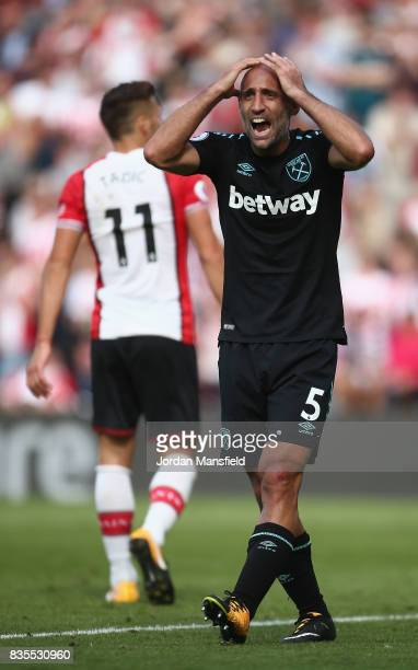 Pablo Zabaleta of West Ham United reacts to giving a penalty away during the Premier League match between Southampton and West Ham United at St...