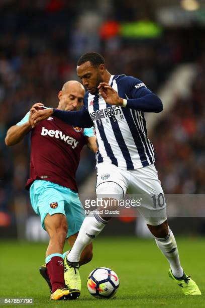 Pablo Zabaleta of West Ham United tackles Matt Phillips of West Bromwich Albion during the Premier League match between West Bromwich Albion and West...