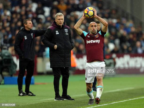 Pablo Zabaleta of West Ham United takes a throw in during the Premier League match between West Ham United and Watford at London Stadium on February...