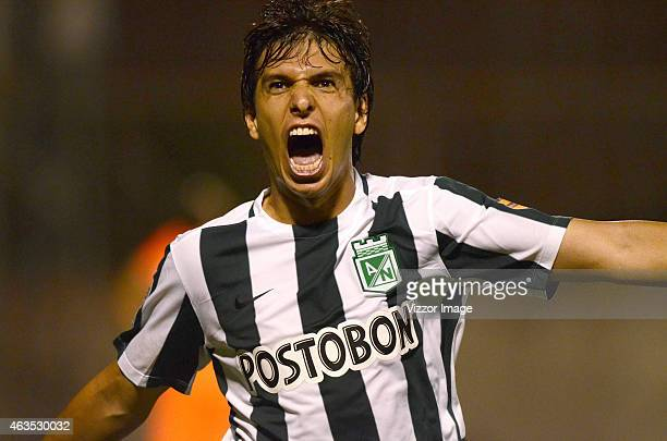 Pablo Zeballos player of Atletico Nacional celebrates a scored goal during a match between Envigado FC and Atletico Nacional as part of fourth round...