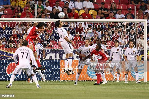 Pablos Campos of Real Salt Lake goes up for the ball during the game against the Chicago Fire at Rio Tinto Stadium on September 12 2009 in Sandy Utah