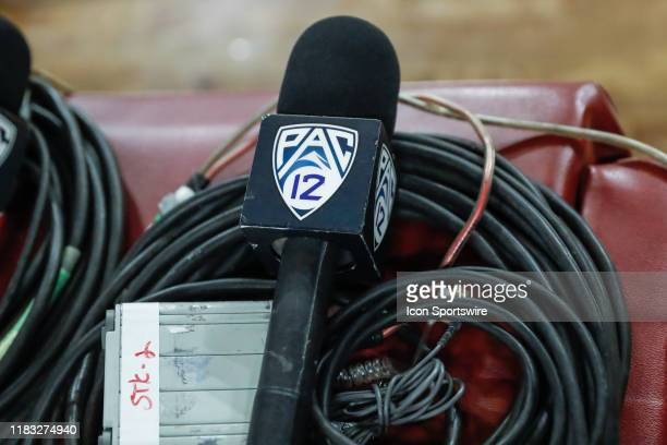 Pac 12 network microphone before the college basketball game between the Rider Broncs and the Arizona State Sun Devils on November 17 2019 at Desert...