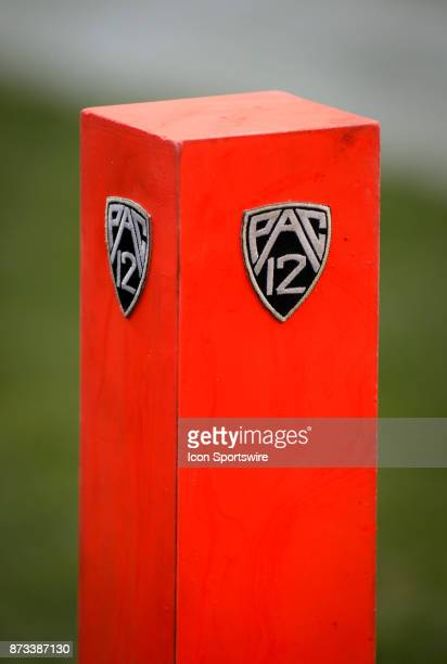 Pac12 logo on an end zone pylon as Colorado played USC during the Colorado Buffalos game versus the USC Trojans on November 11 at Folsom Field in...