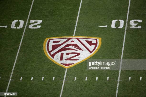 Pac-12 logo on the field during the NCAAF game at Sun Devil Stadium on November 09, 2019 in Tempe, Arizona. The Trojans defeated the Sun Devils 31-26.