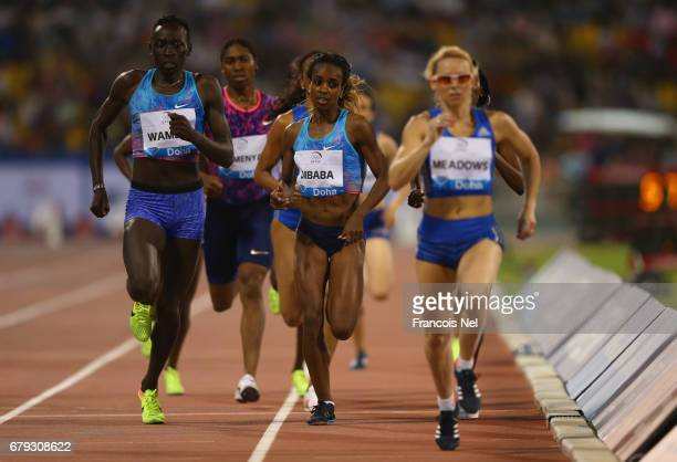 Pace maker Jenny Meadows of Great Britain leads the pack ahead Margaret Nyairera Wambui of Kenya and Genzebe Dibaba of Ethiopia in the Women's 800...