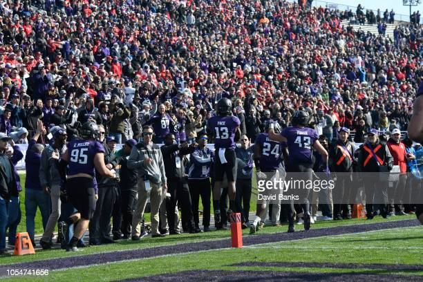 Pace of the Northwestern Wildcats celebrates after an interception in overtime on October 13 2018 at Ryan Field in Evanston Illinois Northwestern won...