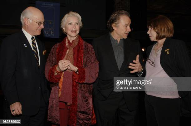Pace University provost Joseph Morreale, actors and Actors Studio co-Presidents Ellen Burstyn and Harvey Keitel with actress Lee Grant at The Actors...