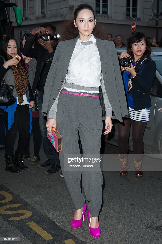 Pace Wu arrives at the Jean-Paul Gaultier Spring / Summer 2013 show as part of Paris Fashion Week on September 29, 2012 in Paris, France.