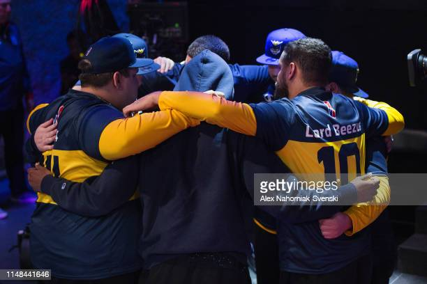 Pacers Gaming huddles during the game against Raptors Uprising Gaming Club during Week 8 of the NBA 2K League regular season on June 6 2019 at the...