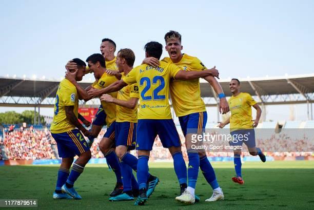 Pacha Espino of Cadiz celebrates scoring his team's goal during LaLiga SmartBank between UD Almeria and Cadiz at Estadio de los Juegos Mediterráneos...