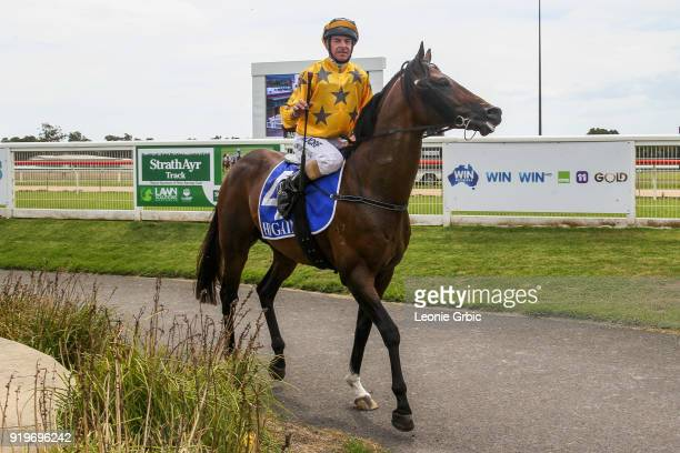 Pachino Boy ridden by Craig Robertson returns after winning the Flaked N Fried Newborough Cup BM58 Handicap at Moe Racecourse on February 18 2018 in...