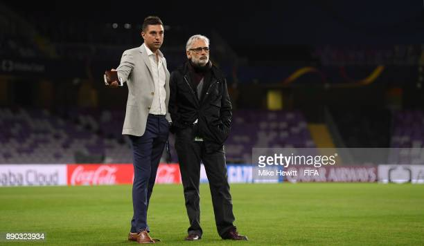 Pachuca coach Diego Alonso talks with owner Jesus Martinez at the Hazza Bin Zayed Stadium ahead of the FIFA Club World Cup UAE 2017 Semi Final...