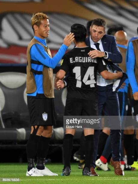 Pachuca head coach Diego Alonso and Keisuke Honda of Pachuca celebrate thier side's 41 victory after the FIFA Club World Cup UAE 2017 third place...