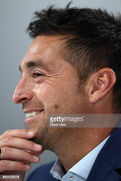 Pachuca head coach Diego Alonso attends a press conference ahead of the FIFA Club World Cup UAE 2017 third place match between Al Jazira and CF...
