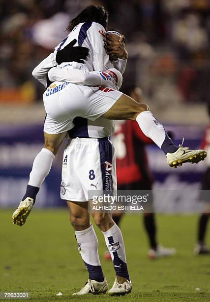 Damian Alvarez of Pachuca from Mexico celebrates goal with his teammate  Gabriel Caballero during a match 9df57ecc47927