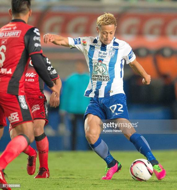 Pachuca midfielder Keisuke Honda in action against Xolos de Tijuana in a Copa MX quarterfinal match at Estadio Hidalgo in Pachuca on Nov 8 2017 Honda...